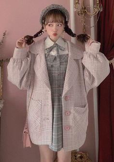 ガーリーファッションの千鳥柄ランタン袖BIGジャケット|Bobon21(ボボンニジュウイチ) Japan Fashion, Kawaii Fashion, Cute Fashion, Fashion Outfits, Cool Outfits, Casual Outfits, Korean Girl Fashion, Japanese Street Fashion, Kawaii Clothes
