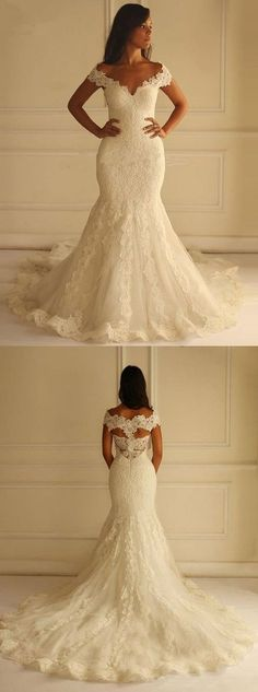Off the Shoulder Mermaid Lace Long Wedding Dresses, BG51596