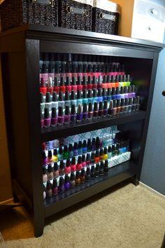 nail polish rack | DIY NAIL POLISH RACK/SHELF/DISPLAY