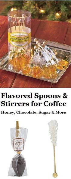 Flavored spoons or sweetened stirrers for coffee are great to add zing to coffee or totally change the flavor of the brew. Chocolates, Honey Spoons, Chocolate Spoons, Coffee Spoon, Coffee Quotes, Peppermint, Tea Party, Brewing, Party Ideas