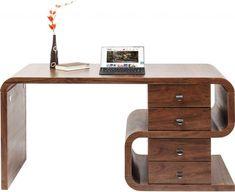 Kare Design - Soft Snake Bureau - 150x70x76 - Walnoot - Kare Design, Modern Home Offices, Joy Of Living, Living Room, Walnut Table, Retro Design, Swivel Chair, New Furniture, Storage Spaces