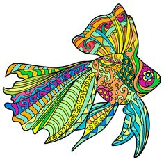 Online Painting, Dot Painting, Colouring Pages, Adult Coloring Pages, Fish Zentangle, Zentangles, Kite Designs, 6th Grade Art, Color By Numbers