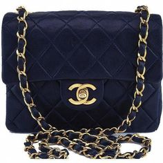 9bed9c0e525c Pre-Owned Chanel Navy Blue Classic Quilted Square Mini Flap Bag. Handbags