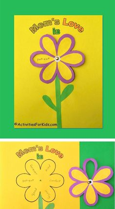 Turn the flower petals to reveal what Mom's Love is.  Cute Mother's Day Card for kids to make.  Printable at Activities For Kids.