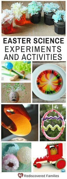 Try these fun and easy Easter science activities for kids. Includes experiments with eggs, plastic eggs, jelly beans and lots, lots more. We've even thrown in some ideas to help you grow crystals and make Easter slime. Suitable for children of all ages from preschoolers to older kids. #Easterforkids #scienceforkids #familyactivities