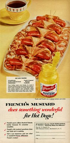 Hot dog toasties 8 frankfurters 8 slices sandwich bread Melted butter French's prepared mustard Toothpicks French's mustard does something wonderful for Hot Dog Recipes, Old Recipes, Cooking Recipes, Grandma's Recipes, Recipies, Retro Recipes, Vintage Recipes, Ethnic Recipes, Vintage Cooking