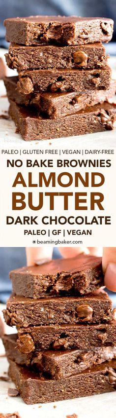 No Bake Dark Chocolate Almond Butter Paleo Brownies (V, GF): a 6-ingredient recipe for luxuriously rich no bake brownies packed with chocolate chips and ready in minutes! #Vegan #Chocolate #GlutenFree #DairyFree #Paleo #Desserts #Healthy | Recipe on Beami