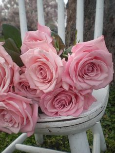 silla rústica con rosas