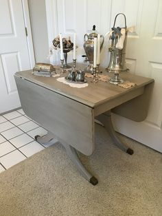 Refinished Duncan Phyfe Table In Chantilly Lace White And Dark - Chantilly distressed dining table by little tree furniture