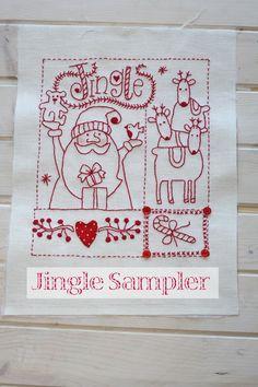 Redwork embroidered Jingle Sampler