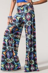 Sexy Fold Over Waist Flared Wide Leg Blue Quadrilateral Yoga Palazzo Pants S M L Loose Pants, Wide Leg Pants, Mix Match Outfits, Palazzo Pants, Jeans Pants, Going Out, Pajama Pants, Sexy, Quadrilateral