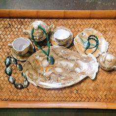 Nothing says summer quite like a fish themed tea set and handmade abalone necklaces. Stop in today for more summer inspired decor. #theclutterhouse #teaset #fish #localaz