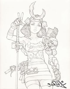 swordbat Original Pencil Drawing : Deseo // Pin-up Anime // limited edition works and design