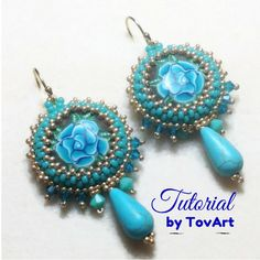 Instant download tutorial, beaded earrings tutorial, clear pattern, clear instructions, turquoise earrings pattern, easy to follow tutorial