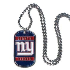 New York Giants Official NFL Tag Necklace by Siskiyou 125638 Modern Christmas Ornaments, New York Giants Football, Giant Dogs, New York Mets, Sport, Dodgers, Things To Buy, Team Logo, Dog Tag Necklace