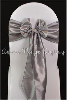 #wedding #sash #taffeta #silver #bow