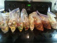 Freezer to Crockpot Meals 4 recipes = 8 meals; No-Peeking Peking Chicken, Chicken and Corn Soup, Roast and Vegetables, & Garlic Chicken