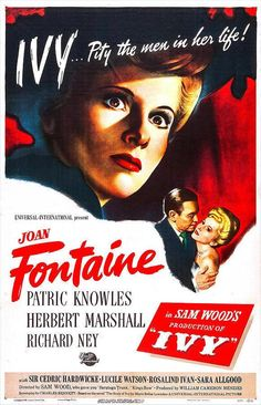 "Soaking in more noir at #NoirCity Chicago starting with Joan Fontaine in IVY (1947) ""Pity the men in her life!"""