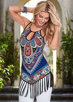 Boho chic fringe tassels summer women floral bikini beach cover up dress shirt - scruffy chic Mode Hippie, Bohemian Mode, Bohemian Style, Boho Chic, Fringe Tank, Shirt Bluse, Shirt Vest, Dress Shirt, Boho Fashion