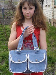 Джинсовая сумка летняя – купить или заказать в интернет-магазине на Ярмарке Мастеров | Сумка из хорошего джинса, впереди 2 кармашка с…