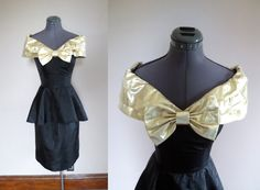 Vintage 1980s Prom Dress with Peplum and Gold Bow $52