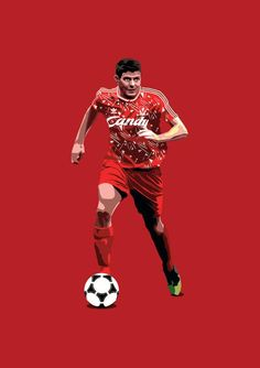 Steven Gerrard Print - Liverpool F.C Home Kit (Candy) God Of Football, Goals Football, Football Art, Liverpool Legends, Liverpool Fc, Steven Gerrard, Liverpool Champions, Liverpool Wallpapers, This Is Anfield