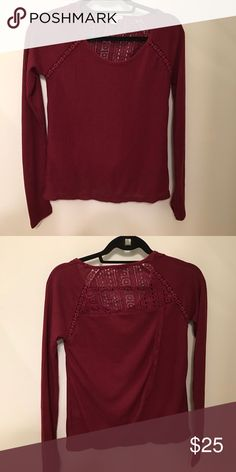 • Lucky Brand • Long Sleeve Blouse - Lucky Brand - Burgundy  - Long Sleeve  - Lace Detail  - Size XS - Excellent Condition Lucky Brand Tops Tees - Long Sleeve