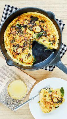 Pinaatti-perunamunakas | K-Ruoka #aamupala #brunssi Paella, Bon Appetit, Tapas, Macaroni And Cheese, Koti, Cooking, Ethnic Recipes, Beautiful, Mac Cheese