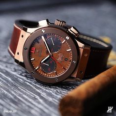 """Cigar lovers rejoice!!! The all-new Hublot Classic Fusion """"Forbidden X"""" in collaboration with Arturo Fuente, featuring a genuine tobacco leaf dial."""