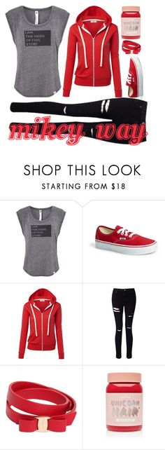 Female Mikey Way by saleonsea on Polyvore featuring Vimmia, Miss Selfridge, Vans, Salvatore Ferragamo, Lime Crime, emo, Punk, mcr, mychemicalromance and MikeyWay
