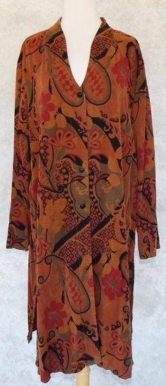 TIANELLO Long Maxi Brown Floral Paisley Button Duster Coat Jacket Top Plus 1X #Tianello #Duster