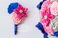 boutonniere for hot pink blue brooch bouquet by feltdaisy on Etsy