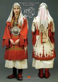 folkthings: Folk costume of Krushevo, Macedonia Ethnic Outfits, Ethnic Dress, Fashion Outfits, Historical Costume, Historical Clothing, Costume Ethnique, European Costumes, Folk Clothing, Folk Costume
