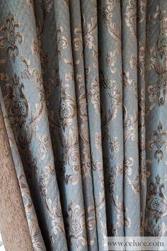 Austrian Diamond Swags and Valances Curtains Egyptian Blue Lotus Unique Curtains, Luxury Curtains, Home Curtains, Valance Curtains, Swags And Tails, Rideaux Design, Bookcase Styling, Blue Lotus, Elegant Living Room