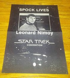 Star Trek Spock Lives Creation Convention Promo Poster Nimoy circa mid 1980's