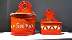 2 French enamel boxes /Orange enamelware / Matches by BrocanteEst