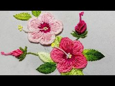HAND EMBROIDERY: Fly Stitch Leaf & bud FOR Sudanese rose - top embroidery In this video you will learn how to embroider leaves and buds. Basic Embroidery Stitches, Hand Embroidery Designs, Beaded Embroidery, Embroidered Leaves, Crazy Quilt Blocks, Crochet Circles, Brazilian Embroidery, Knitted Dolls, Baby Knitting Patterns