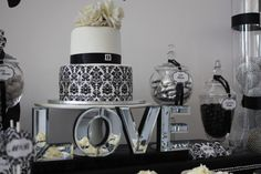 A Chic Black and White Damask Wedding Shower - Anders Ruff Custom Designs, LLC