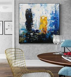 original abstract art on canvas contemporary,living room painting abstract,large abstract canvas wall art,office wall art canvas Abstract Canvas Wall Art, Blue Abstract Painting, Large Canvas Wall Art, Oversized Wall Art, Contemporary Abstract Art, Stretching, Artworks, Hand Painted, Paintings