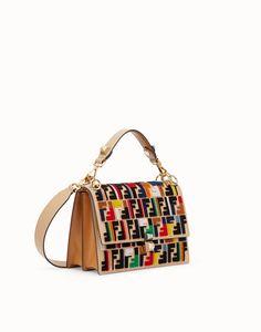 Tasche aus mehrfarbigem Leder und Stoff