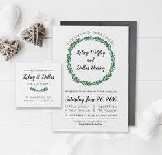 Leaf Wedding Invitation Set  Watercolor by ChynnaHansenDesigns