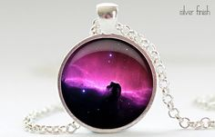 Horsehead Nebula Necklace, Galaxy Art Pendant,  Sci Fi Jewelry, Universe Sci Fi Necklace Gift for Him or for Her (392)