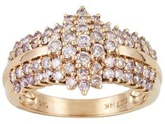 Natural Poshpink Diamond(Tm) 1.25ctw Round, 14k Rose Gold Ring. Eav $2,575.00
