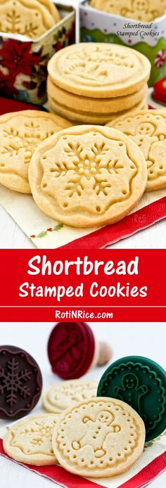 Buttery melt-in-the-mouth Shortbread Stamped Cookies using only 4 simple ingredients. A beautiful and delicious addition to any holiday. Galletas Cookies, Yummy Cookies, Holiday Cookies, Buttery Cookies, Christmas Shortbread Cookies, Shortbread Recipes, Cookie Recipes, Dessert Recipes, Christmas Sweets