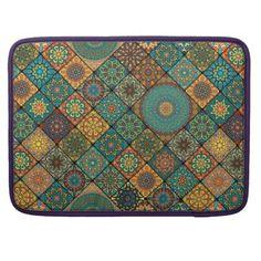#floral - #Vintage patchwork with floral mandala elements sleeve for MacBook pro