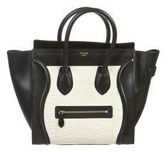 Celine Black Leather and White Crocodile Medium Luggage Tote.