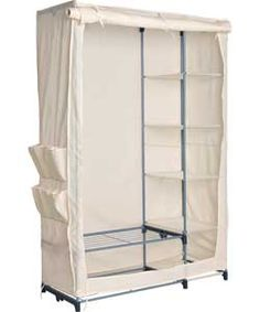 Buy Canvas & Silver Effect Metal Frame Double Wardrobe -Natural at Argos.co.uk - Your Online Shop for Wardrobes.