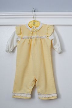 6 months: Vintage Yellow and White One piece Romper Outfit, by Carter's, Ruffles at Shoulders, Embroidered and Lace Trim www.etsy.com/shop/petitpoesy