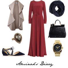 #98 DKNY Abaya Dress by aminahs-hijab-diary on Polyvore featuring DKNY, Pala, Jimmy Choo, Dolce&Gabbana, Nixon and Hermès