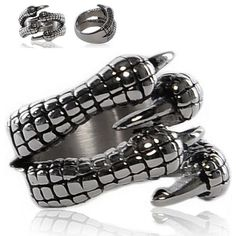 Designer Titanium Steel Dragon Claw Cyber Punk Emo Rings Fashion Jewelry SKU-71109041